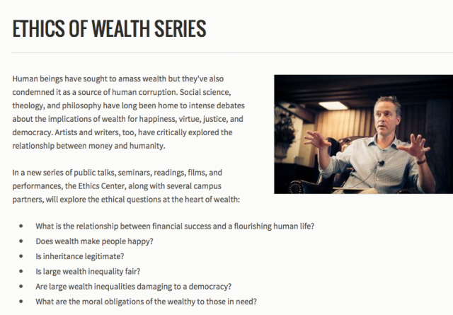 Stanford Ethics of Wealth series